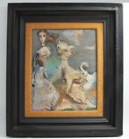 Signed Mid Century Modern Abstract Oil Painting Girl W/ Cat