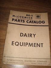 International Harvester IH DE-1 Dairy Equipment McCormick Parts Catalog