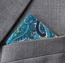 SUPERNOVA Teal Green Liberty Lord Paisley Pocket Square Handkerchief Mod 60s
