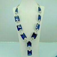 Turkish Handmade Jewelry 925 Sterling Silver Sapphire Stone Women Necklace