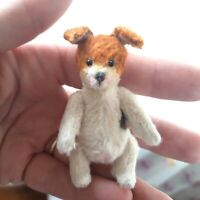 Miniature teddy Little puppy Jack Russel terrier. Ooak art doll. Make to oder