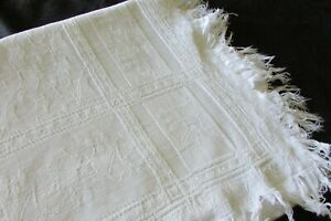 Gorgeous Antique French White Cotton Ivy Embossed Fringed table runner / towel