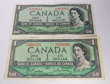 New listing Two 1954 Canadian One Dollar Bills / Banknotes From Banque Du Canada / Ottawa