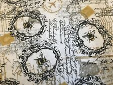 Bee FQ Fat Quarter Fabric White Black Gold RARE 100% Cotton Quilting