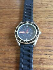 Mens Large Face SS Sports Watch with Black Dial & Black Silicone Strap W557/5