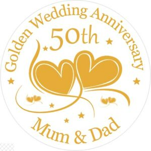"""Golden 50th Wedding , 7.5"""" , 2"""" , 1.5"""" ROUND EDIBLE ICING PRINTED CAKE TOPPER"""