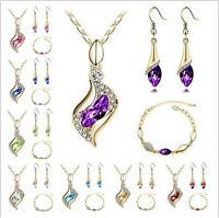 New 18K Gold Plated Jewelry Set CZ Elegant Hot Necklace Hook Earrings Bracelet
