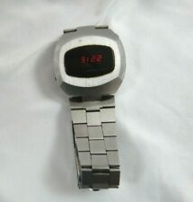 Vintage Compu Chron Red Led Watch Dot Matrix Works