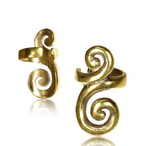 AFGHAN TRIBAL BRASS EAR CUFF ETHNIC DREADLOCK BEAD DREAD BEADS RING EAR