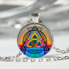 Triquetra photo Tibet silver dome Glass Cabochon Necklace chain Pendant #515