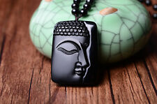 AAAA  Natural Buddha Half Face obsidian pendant jewelry male HD60