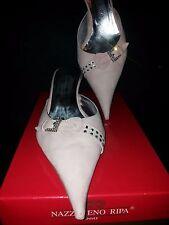 Original Nazzareno Ripa Damen Schuhe Sabot mit Absatz Gr. 40 Blass Rosa Italien
