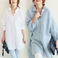 Women Linen Look Oversize Longline Shirt Loose Casual Boyfriend Style Blouse Top