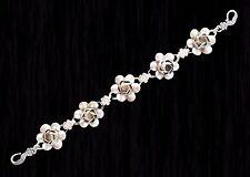 Coro Craft linked rose bracelet sterling silver 925 Vtg 40s 3D 8 inches
