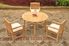 "4pc Grade-A Teak Dining Set 48"" Round Table 3 Devon Arm Chair Outdoor Patio"