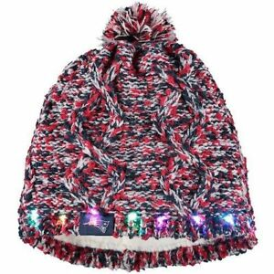 New England Patriots Chunky Knit Light Up Beanie Winter Hat Toque Pom Women's