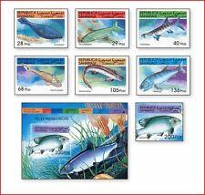 SAH99092 Fishes 7 pieces and block MNH SAHARA 1999