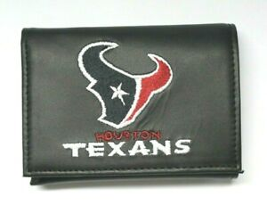 Houston Texans NFL Leather Embroidered Trifold Wallet by Rico -Black