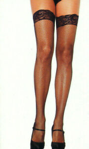 Stay Up Stockings Fishnet Thigh High Lace Silicone Band Reg Blk Leg Avenue 9122