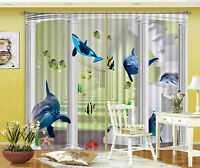 3D Delfin Kanal 508 Blockade Foto Vorhang Druckvorhang Vorhänge Stoff Fenster DE