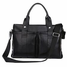 Black Leather Briefcase or Leather Messenger Bag 15-inch - Twisted Leather Bags