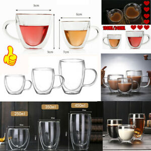 Double Wall Glass Tea Coffee Cup Thick Heat-resistant Clear Glass Mug 150-450ML