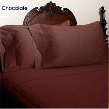 Cioccolato Righe Set Copripiumino King Size 1000 Fili 100% Cotone Egiziano