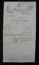 Jones & Willis Church Furniture Manufactory Birmingham 1869 Invoice