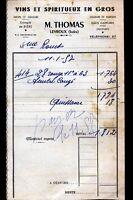 """LEVROUX (36) BIERE VINS SPIRITUEUX """"M. THOMAS"""" en 1957"""