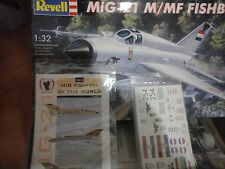 MIG - 21 M/MF FISHBED 1:32 SCALE REVELL MODEL, +SUPERDECALS PARTS