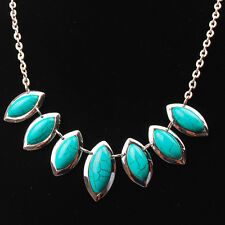 Vintage Retro Marquise Tibet Silver Tone Turquoise Bib Chain Pendant Necklace