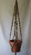 Macrame Plant Hanger ALL NATURAL JUTE 40 in with BEADS