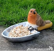 Robin on garden trowel bird feeder heavy resin novelty gardener bird lover gift