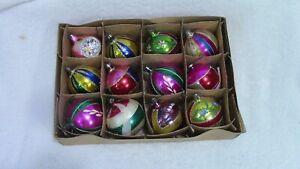 12 VINTAGE FANTASIA BLOWN GLASS PAINTED & GLITTER CHRISTMAS ORNAMENTS--POLAND