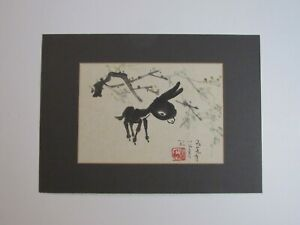 Vintage Chinese Brush Painting ~ Young Donkey ~ Horse and Carriage Seal Mark