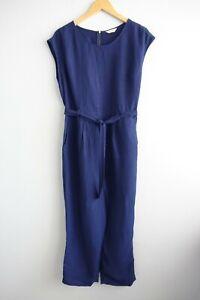 Gorman Summer 15 Cap Sleeve Exposed Zip Belted Linen Blend Blue Jumpsuit sz 10