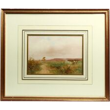 Original Signed Framed Heathland Leaves Watercolour Landscape Painting 1909