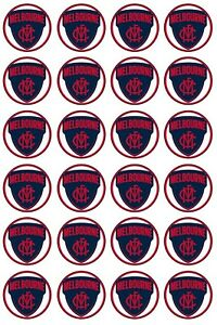 24 x MELBOURNE DEMONS Edible Rice Wafer Paper Cupcake Toppers 4cm Sport Logo