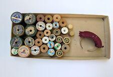 Vintage Lot of 31 Wooden Thread Spools, 2 Plastic Thimbles, Bracelet Pin Cushion