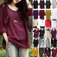 Plus Size Womens Hippie Boho 3/4 Sleeve Tunic Blouse Kaftan Baggy Tops T-Shirt