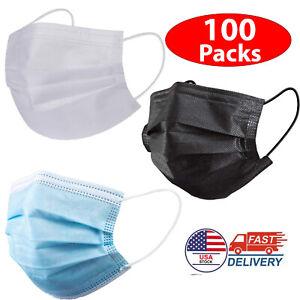 100x Black/Blue/White Face Mask Mouth& Nose Protector Respirator Masks US Seller