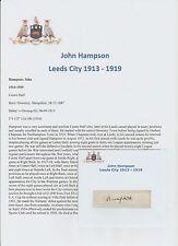 JOHN HAMPSON LEEDS CITY 1913-1919 EXTREMELY RARE ORIG HAND SIGNED CUTTING/CARD