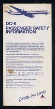 DELTA Air Lines Airbus DC 8 Airline SAFETY CARD air brochure ee e602
