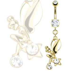14k Gold Plated Fairy Star CZ Gem Belly Ring Tinkerbell Pierced Navel (w544)