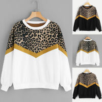 UK Womens Long Sleeve Patchwork Leopard Print O-Neck Tops Sweatshirt Pullover AB