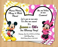 10 Minnie Mickey Mouse Twins Birthday Party Invitations Personalized Pink Yellow