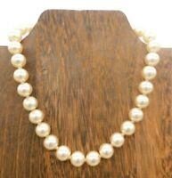 "Vintage Japan Cream Glass Bead Silver Tone Rhinestone Hook Clasp 15"" Necklace"