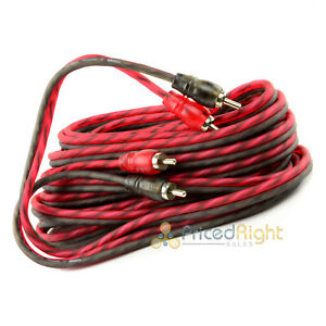DS18 20 ft 2 Channel Shielded Twisted Interconnect RCA Audio Cable Amp Cables