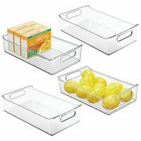 mDesign Wide Plastic Kitchen Pantry Cabinet Food Storage Bin - Clear