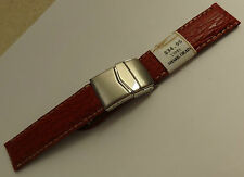 New ZRC France Red Shark 18mm Watch Band Steel Deployment Sealock Clasp $34.95